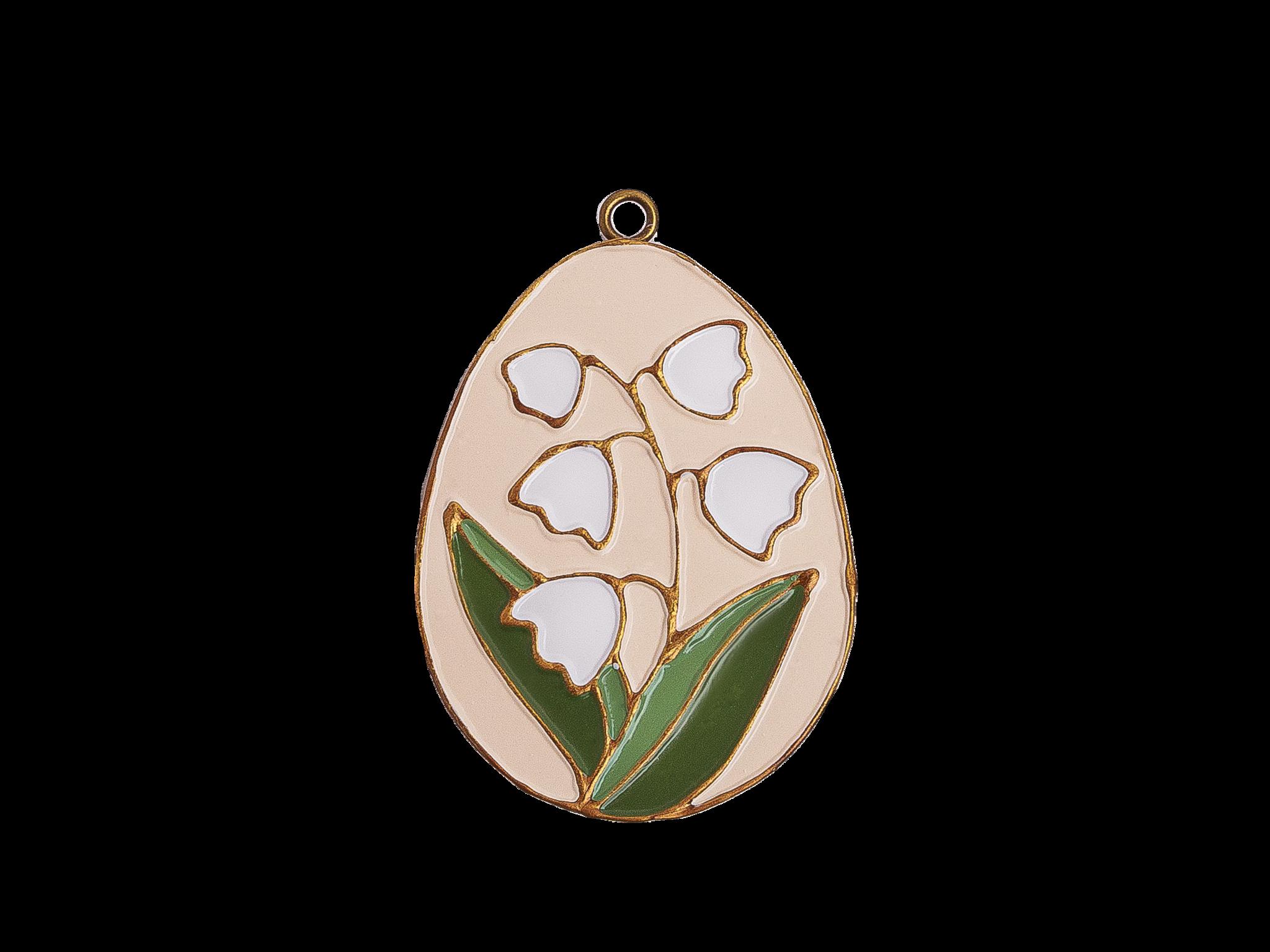 Пасхальное украшение Яйцо с Ландышем, цвет: античный белый