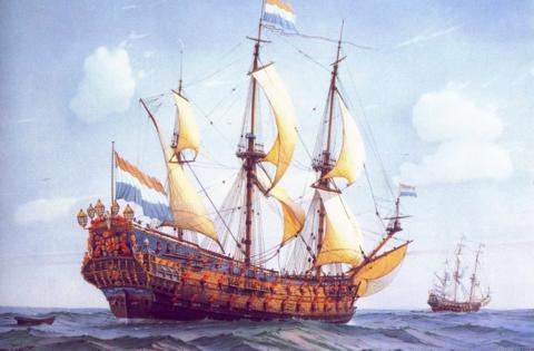Алмазная Мозаика 40x50 Корабли в открытом море (арт. GA72121)