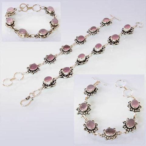 Браслет 5 Камней Розовый кварц Индия