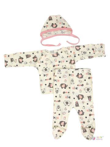 ФЭСТ, Hunny Mammy. Комплект детский стерильный с ползунками, в роддом, молочный/светло-розовый