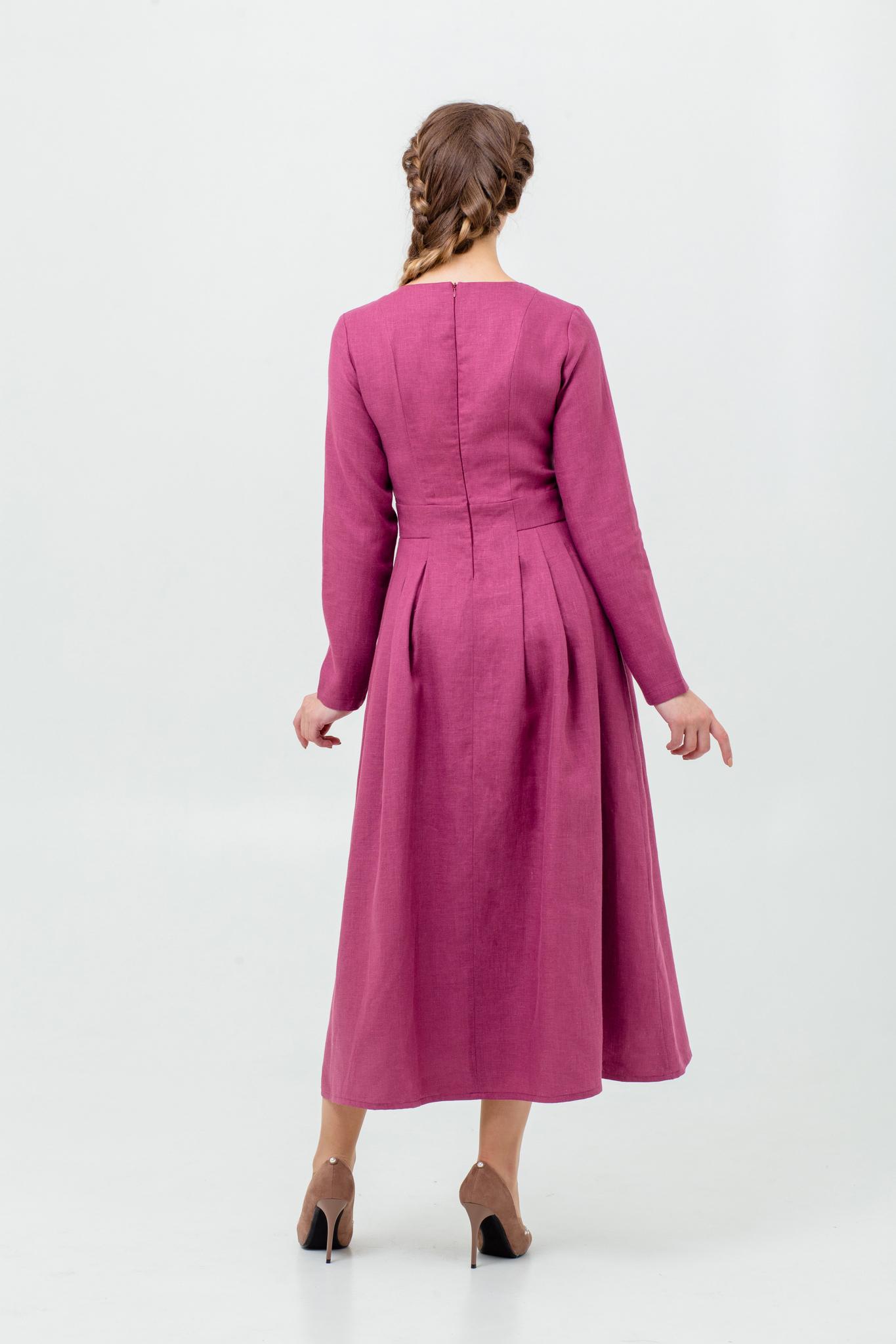 Платье льняное в русском стиле Ежевика