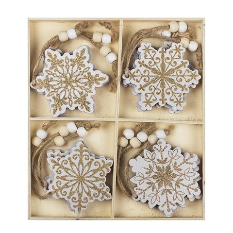 Набор из 12-ти елочных украшений Snowflakes (дерево) 3