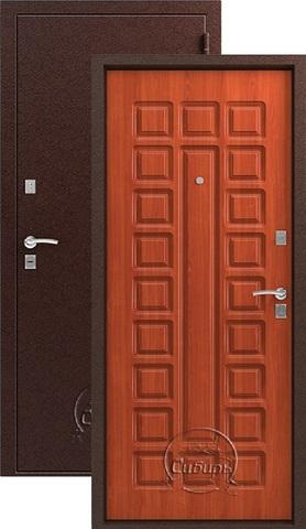 Дверь входная Сибирь S-2, 2 замка, 1,5 мм  металл, (медь+итальянский орех)