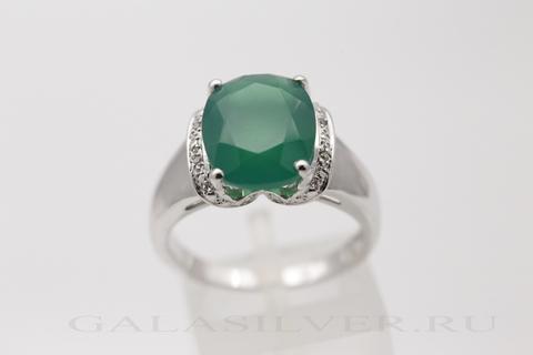 Кольцо с зеленым ониксом и цирконом из серебра 925