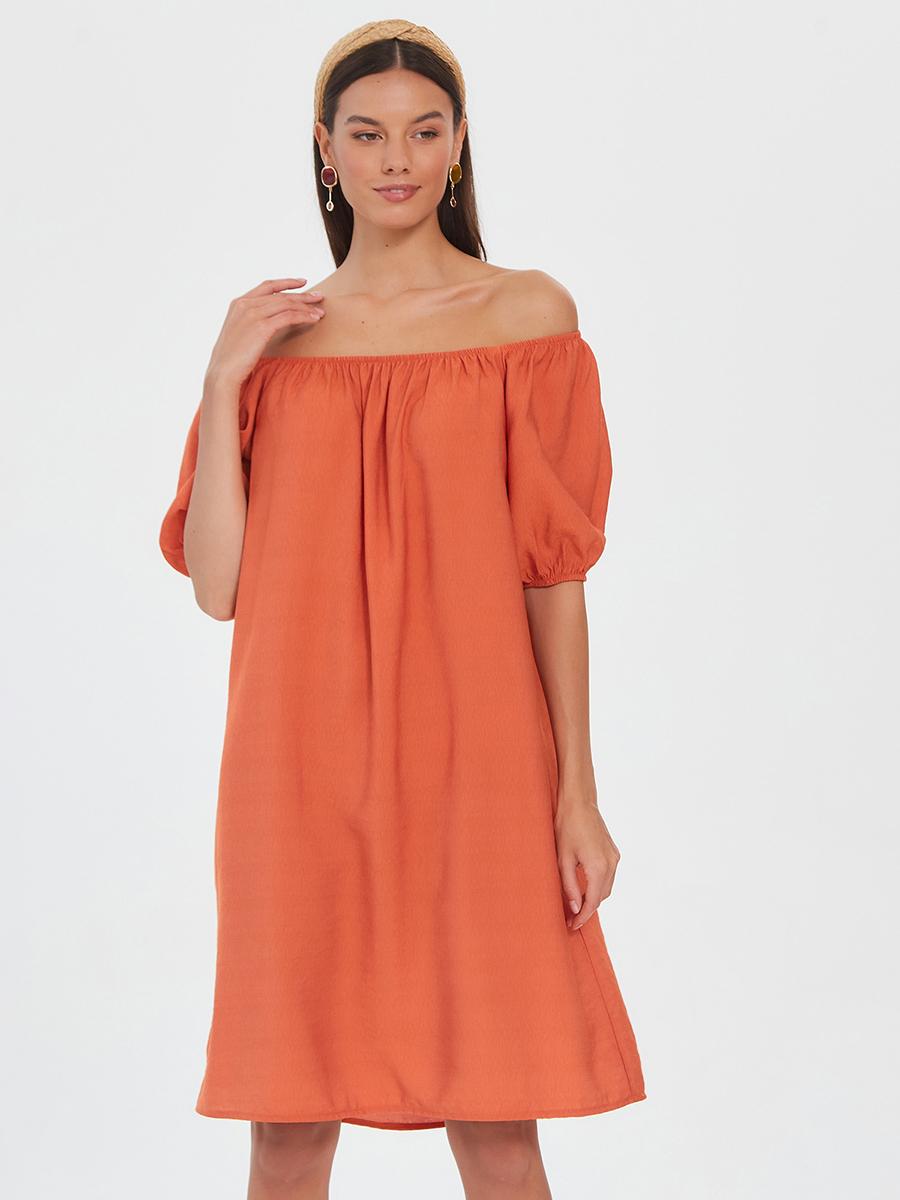 Легкое летящее платье Brandmania из вискозы с вырезом