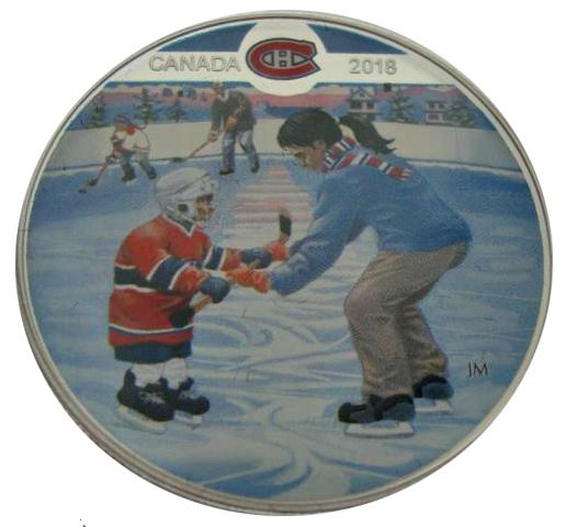 10 долларов 2018 год. Канада. Хоккей НХЛ Монреаль Канадиенс - Учимся играть. Серебро