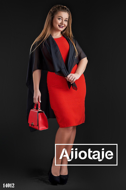 Красное платье в горошек с шифоновой накидкой