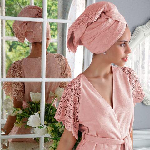 НАБОР 2 предмета SANTROPEZ розовый махровый женский халат и полотенце 50х100 Tivolyo Home (Турция)