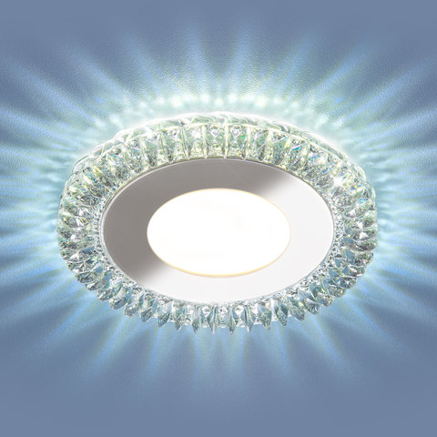 Встраиваемый светодиодный точечный светильник с LED подсветкой 9908 LED 8W CL прозрачный