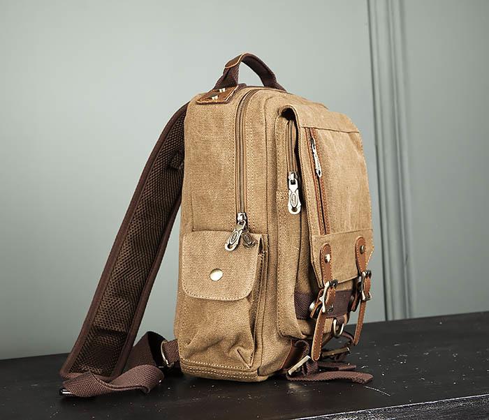 BAG394-2 Коричневый городской рюкзак с одной лямкой через плечо фото 03