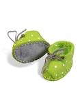Ботиночки из фетра в горошек - Зеленый / горох. Одежда для кукол, пупсов и мягких игрушек.