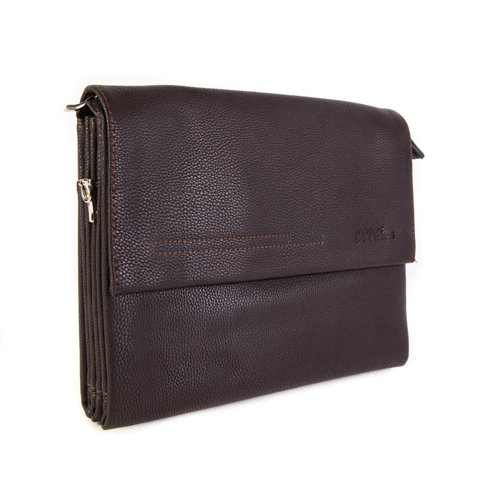 Фото мужская наплечная сумка коричневая из искусственной кожи 32х25х5 см Paulo Valenti TK53