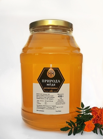 Мед Разнотравье,  3 литра, свежего урожая