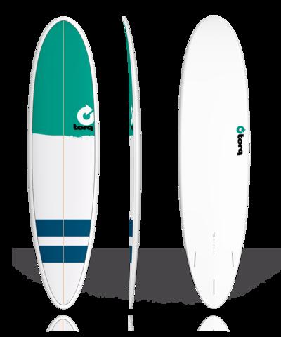 Серфборд TORQ 7'6'' Fun - New Classic (green nose/stripes)
