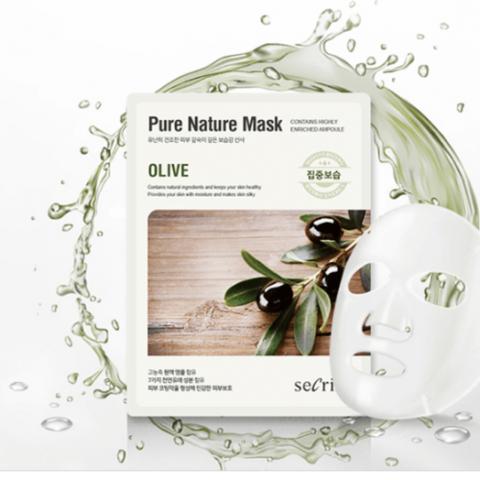 Anskin Маска для лица тканевая Secriss Pure Nature Mask Pack Olive, 1 шт
