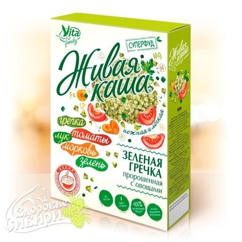 Vita живая каша зеленая гречка пророщенная с овощами. 300 г