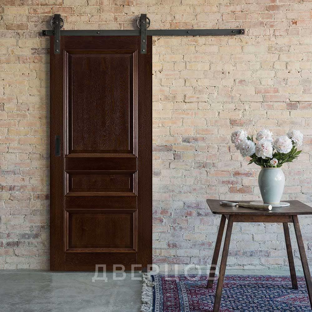Амбарные двери Межкомнатная амбарная дверь массив дуба ОКА Афродита багет античный орех il-Afrodita_bagetnaya-3filenki_-antichni-oreh.jpg
