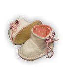 Сапожки из фетра на подкладке - Белый / розовый. Одежда для кукол, пупсов и мягких игрушек.