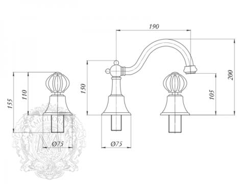Смеситель для раковины на 3 отв. Migliore Olivia ML.OLV-5812 схема