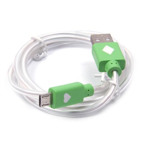 Кабель microUSB с LED подсветкой (Зеленый)