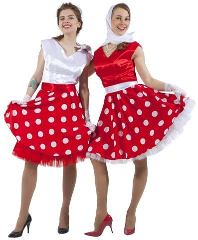 Платье Стиляга бело-красное в горох 2