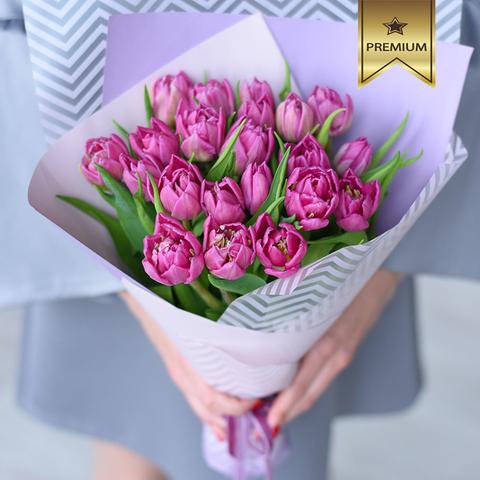 Тюльпаны пионовидные розовые от 9шт