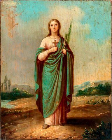 Икона святая мученица Анфиса на дереве на левкасе мастерская Иконный Дом