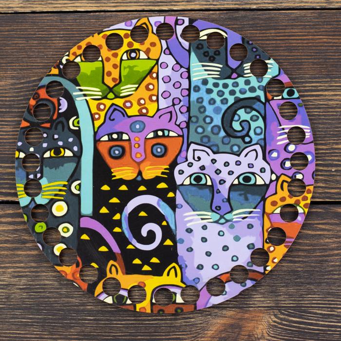 """Заготовки с рисунками Круглая заготовка с рисунком """"Сказочные коты"""" 15см из фанеры IMG_9067.jpg"""