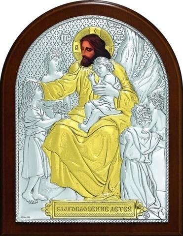 Серебряная с золочением икона Благословение детей 16х12см
