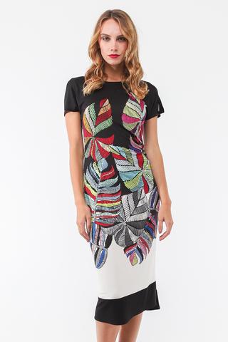 Фото облегающее платье миди с коротким рукавом и оригинальным принтом - Платье З442-467 (1)