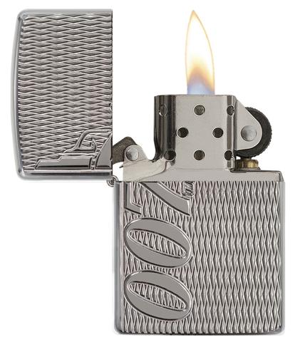 Зажигалка Zippo James Bond, прочный корпус Armor с покрытием High Polish Chrome, латунь/сталь123
