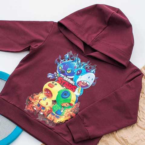 Толстовка с капюшоном BRAWL STARS 4 ГЕРОЯ, цвет бордо