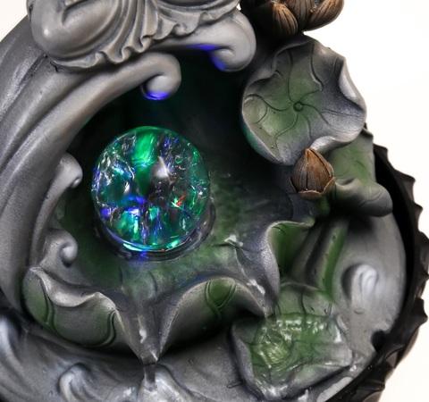 Фонтан настольный от сети Серый будда на волне , 34х23х23 см