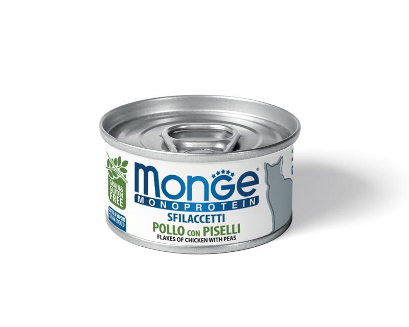 купить Monge Cat Monoprotein Chicken with Peas хлопья (волокна) для кошек из курицы 80г