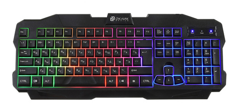 Клавиатура Оклик 757G MADNESS черный USB for gamer LED