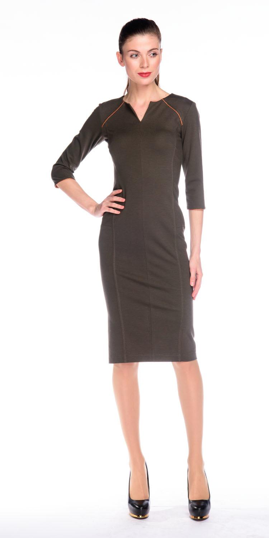 Платье З127-265 - Платье приталенного силуэта, зауженное к низу. Втачной рукав 3/4 с контрастной окантовкой, имитирующей рукав-реглан. Вертикальные отстрочки по всей длине, визуально стройнят фигуру. Плотный, стрейчевый трикотаж обладает утягивающим эффектом. В этом платье вы будете неотразимы как в офисе или на деловой встрече, так и на вечернем мероприятии.