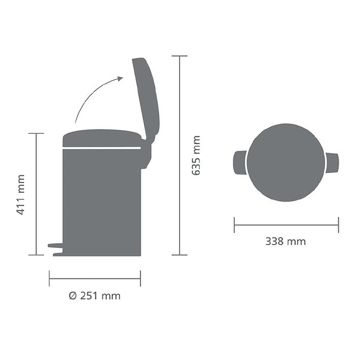 Мусорный бак newicon (12 л), Мятный металлик, арт. 113765 - фото 1