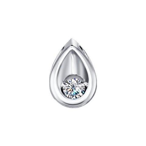 1030177 - Подвеска в форме капельки из белого золота с бриллиантом