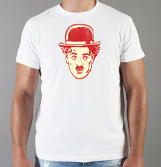 Футболка с принтом Чарли Чаплин (Charlie Chaplin) белая 003