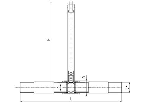 LD КШ.Ц.ПЭ.GAS.125.016.П/П.02.Н=1500мм с патрубками ПЭ-100 SDR 11 полный проход