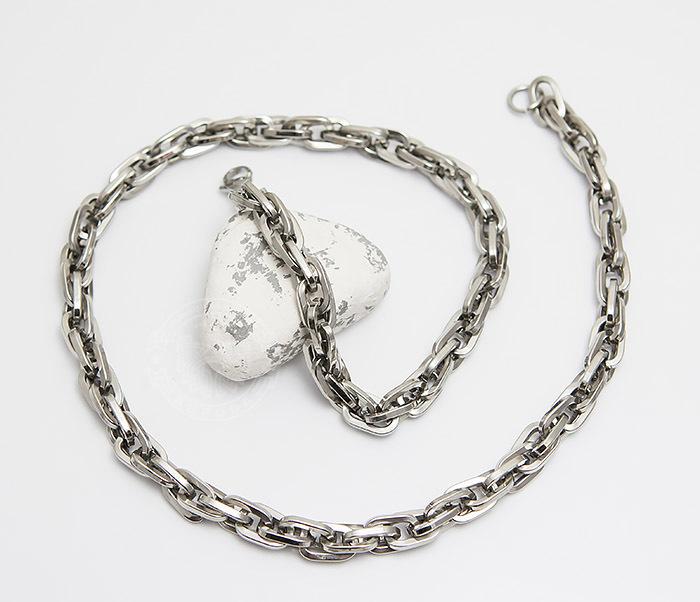 PM245 Крупная мужская цепь из стали оригинального плетения (55 см) фото 02