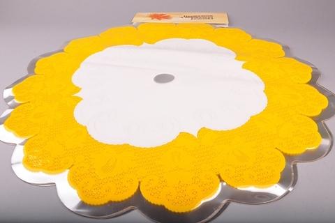 Салфетка ажурная круг d60 см цвет: желтая
