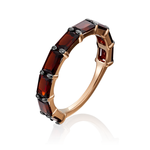 01-5335-00-204-1110-46- Кольцо из золота с гранатами огранки октагон