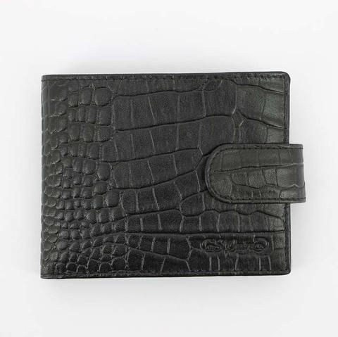 Портмоне S.Quire, натуральная воловья кожа, черный, фактурная, 11,5x9 см