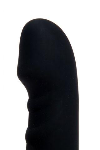 Черный силиконовый вибратор для точки G - 17 см.