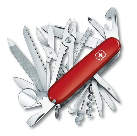 Нож Victorinox SwissChamp, 91 мм, 33 функции, красный, кожаный чехол, блистер