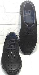 Кожаные мужские мокасины туфли с дырочками smart casual стиль Luciano Bellini 91754-S-315 All Black.