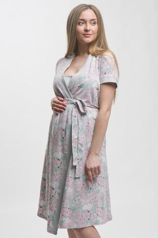Комплект для беременных и кормящих с халатом и сорочкой 10713 серый