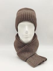 Мужской комплект шапка с отворотом и шарф, коричневый