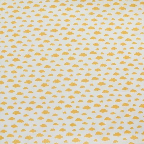 Ткань хлопковая горчичные облачка на белом